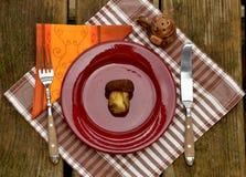 Μανιτάρι στο πιάτο Στοκ Φωτογραφίες