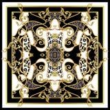 Μαντίλι σχεδίου με το δέρμα λεοπαρδάλεων και τα χρυσά μπαρόκ στοιχεία διάνυσμα διανυσματική απεικόνιση