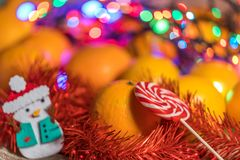 Μανταρίνια στο χρόνο Χριστουγέννων Στοκ Εικόνες