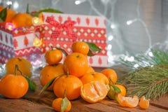Μανταρίνια στο χρόνο Χριστουγέννων στοκ εικόνες με δικαίωμα ελεύθερης χρήσης
