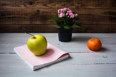 Μανταρίνι και βιβλίο της Apple Στοκ εικόνα με δικαίωμα ελεύθερης χρήσης