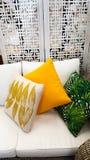 Μαξιλάρια στον καναπέ στο μίγμα του εσωτερικού σχεδιαστή χρωμάτων Στοκ Φωτογραφίες