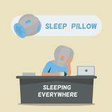 Μαξιλάρι ύπνου για να κοιμηθεί παντού διανυσματική απεικόνιση