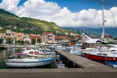 Μαρίνα βαρκών του τοπικού ψαρά Tivat Στοκ Εικόνες