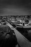 Μαρίνα και καταφύγιο ψαράδων στο άσχημο καιρό Στοκ Εικόνες