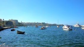 Μαρίνα Kalkara με τα αλιευτικά σκάφη, Μάλτα απόθεμα βίντεο
