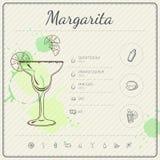 Μαργαρίτα Infographic σύνολο κοκτέιλ επίσης corel σύρετε το διάνυσμα απεικόνισης ζωηρόχρωμο watercolor ανασκόπησης Στοκ Εικόνα