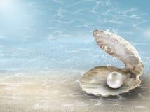 Μαργαριτάρι στο υποβρύχιο υπόβαθρο κοχυλιών στρειδιών στοκ φωτογραφία με δικαίωμα ελεύθερης χρήσης