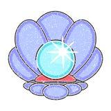 Μαργαριτάρι hand-drawn Στρείδι στο ωκεανό διανυσματική απεικόνιση