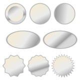 Μαργαριταριών άσπρο σύνολο αυτοκόλλητων ετικεττών ετικετών φύλλων αλουμινίου διανυσματικό Στοκ Εικόνα
