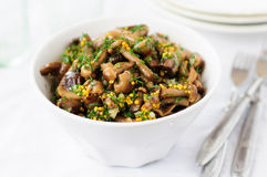 Μαριναρισμένη άγρια σαλάτα μανιταριών (μύκητας μελιού) με τον άνηθο και Musta στοκ εικόνες με δικαίωμα ελεύθερης χρήσης