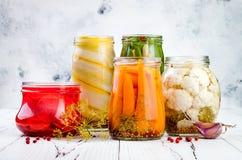 Μαριναρισμένη ποικιλία τουρσιών που συντηρεί τα βάζα Σπιτικά πράσινα φασόλια, κολοκύνθη, ραδίκι, καρότα, τουρσιά κουνουπιδιών Ζυμ στοκ φωτογραφία