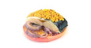 Μαριναρισμένο άλας σκουμπρί με τη Apple και το κρεμμύδι Στοκ Φωτογραφία