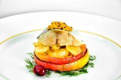 Μαριναρισμένο άλας σκουμπρί με τη Apple και το κρεμμύδι Στοκ φωτογραφίες με δικαίωμα ελεύθερης χρήσης