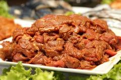 Μαριναρισμένο ακατέργαστο κρέας Στοκ φωτογραφίες με δικαίωμα ελεύθερης χρήσης