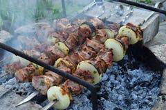 Μαριναρισμένο σχάρα κρέας με το κρεμμύδι και το μπέϊκον Shashlik ή Shish kebab που προετοιμάζεται στη σχάρα πέρα από τον ξυλάνθρα Στοκ Φωτογραφία