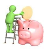 Μαριονέτα με τη piggy τράπεζα ελεύθερη απεικόνιση δικαιώματος
