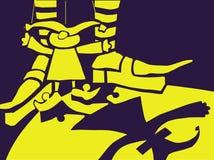 Μαριονέτα στη σκηνή Πορφυρή ανασκόπηση Στοκ Εικόνα
