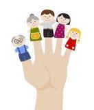 Μαριονέτες οικογενειακών δάχτυλων επίσης corel σύρετε το διάνυσμα απεικόνισης Στοκ Εικόνες