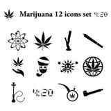Μαριχουάνα 12 απλά εικονίδια καθορισμένα Στοκ φωτογραφία με δικαίωμα ελεύθερης χρήσης