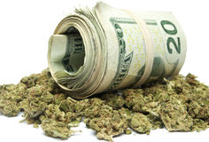 Μαριχουάνα και χρήματα Στοκ εικόνα με δικαίωμα ελεύθερης χρήσης
