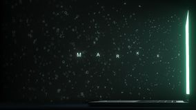 ΜΑΡΚΕΤΙΝΓΚ του κειμένου που εμφανίζεται κοντά στην οθόνη lap-top Εννοιολογική τρισδιάστατη ζωτικότητα απόθεμα βίντεο