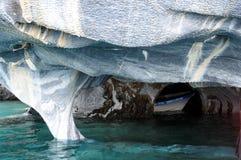 Μαρμάρινες σπηλιές της λίμνης στρατηγός Carrera στοκ εικόνα