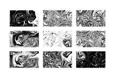 Μαρμάρινες συστάσεις μαύρο λευκό επίσης corel σύρετε το διάνυσμα απεικόνισης Γραπτή marbling σύσταση μελανιού παφλασμός χρωμάτων  Στοκ φωτογραφίες με δικαίωμα ελεύθερης χρήσης