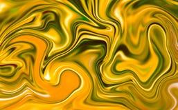 Μαρμάρινη αφηρημένη ψηφιακή απεικόνιση υποβάθρου Υγρό χρυσό έργο τέχνης επιφάνειας με το κίτρινο χρώμα ελεύθερη απεικόνιση δικαιώματος