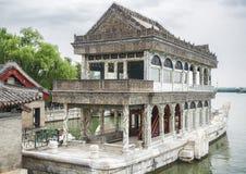 Μαρμάρινη βάρκα στο θερινό παλάτι, Πεκίνο, Κίνα στοκ εικόνα