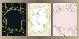 Μαρμάρινη A4 κάρτα με το χρυσό σύνολο γραμμών διανυσματική απεικόνιση
