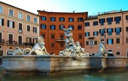 Μαρμάρινη πηγή στο navona πλατειών, Ρώμη, Ιταλία Στοκ φωτογραφία με δικαίωμα ελεύθερης χρήσης