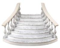 Μαρμάρινη σκάλα με την ημικυκλική τρισδιάστατη απόδοση βημάτων σε ένα λευκό ελεύθερη απεικόνιση δικαιώματος