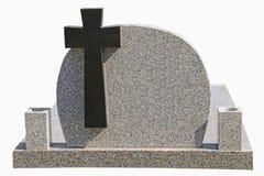 Μαρμάρινη ταφόπετρα με το μαύρο σταυρό Στοκ Εικόνες