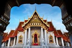 Μαρμάρινος ναός (Wat Benchamabophit Dusitvanaram), σημαντικό τουριστικό αξιοθέατο, Μπανγκόκ, Ταϊλάνδη. Στοκ Εικόνα