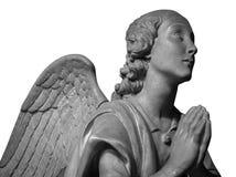 Μαρμάρινο άγαλμα ενός όμορφου αγγέλου που απομονώνεται στο λευκό Στοκ φωτογραφία με δικαίωμα ελεύθερης χρήσης