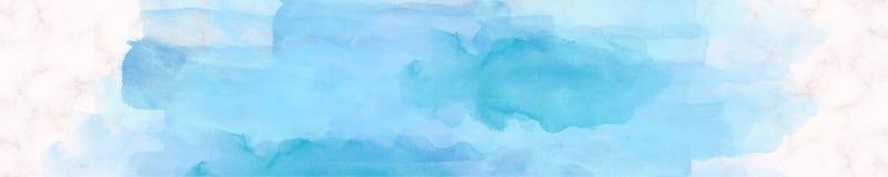 Μαρμάρινο μπλε χρωμάτων Watercolor εμβλημάτων Ιστού Στοκ Φωτογραφίες