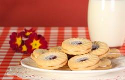 μαρμελάδα κρέμας μπισκότων Στοκ Φωτογραφία