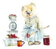 Μαρμελάδα μαγείρων αυτή-αρκούδων μητέρων Συρμένη χέρι απεικόνιση Watercolor διανυσματική απεικόνιση