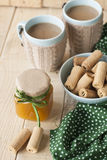 Μαρμελάδα, μπισκότα και καφές της Apple για το πρόγευμα Στοκ φωτογραφίες με δικαίωμα ελεύθερης χρήσης