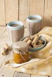 Μαρμελάδα, μπισκότα και καφές της Apple για το πρόγευμα Στοκ Φωτογραφία