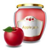 Μαρμελάδα της Apple με το βάζο Στοκ Εικόνες
