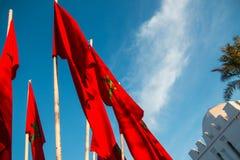 Μαροκινές σημαίες στο Μαρακές σε ένα υπόβαθρο του μπλε ουρανού Στοκ φωτογραφίες με δικαίωμα ελεύθερης χρήσης