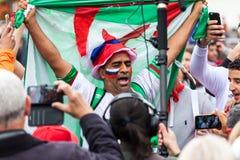 Μαροκινοί οπαδοί ποδοσφαίρου πριν από την αντιστοιχία με την Ισπανία Στοκ Φωτογραφίες