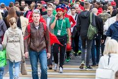 Μαροκινοί οπαδοί ποδοσφαίρου πριν από την αντιστοιχία με την Ισπανία Στοκ Εικόνες