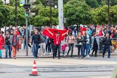 Μαροκινοί οπαδοί ποδοσφαίρου πριν από την αντιστοιχία με την Ισπανία Στοκ Εικόνα