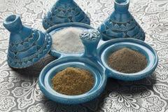 μαροκινό άλας πιπεριών κύμινου κύπελλων Στοκ Εικόνες