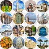Μαροκινό κολάζ ορόσημων, Καζαμπλάνκα, Μαρόκο στοκ εικόνα