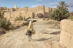 Μαροκινό παλαιό χωριό με το γάιδαρο και το δρόμο Στοκ Φωτογραφίες