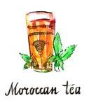 Μαροκινό τσάι Watercolor Στοκ Εικόνες